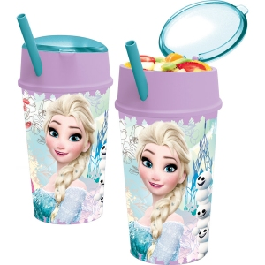 Pahar cu pai si compartiment gustare Frozen