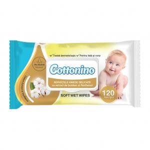 Servetele Umede Cottonino cu extract de Bumbac si Penthenol 120buc